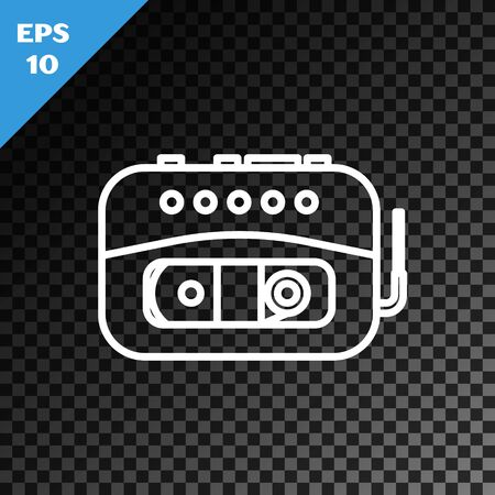 White line Music tape player icon isolated on transparent dark background. Portable music device. Vector Illustration