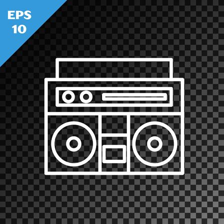 White line Home stereo with two speakers icon isolated on transparent dark background. Music system. Vector Illustration