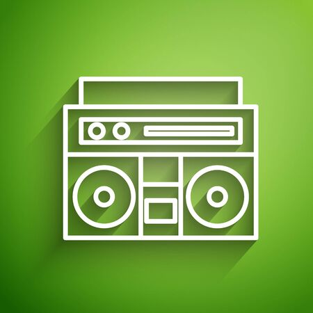 White line Home stereo with two speakers icon isolated on green background. Music system. Vector Illustration