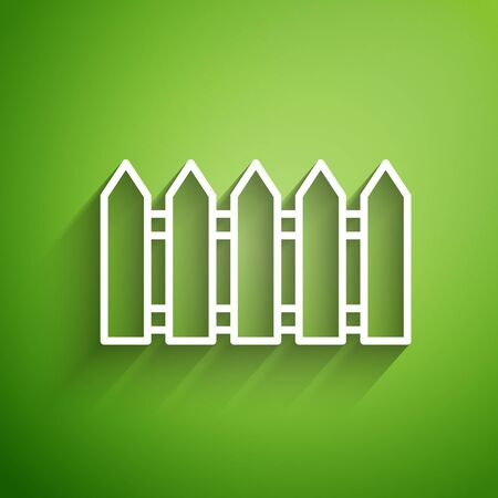 White line Garden fence wooden icon isolated on green background. Vector Illustration