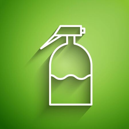 White line Garden sprayer for water, fertilizer, chemicals icon isolated on green background. Vector Illustration