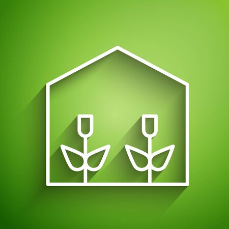 White line Home greenhouse and plants icon isolated on green background. Vector Illustration