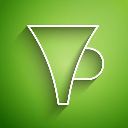 White line Funnel or filter icon isolated on green background. Vector Illustration