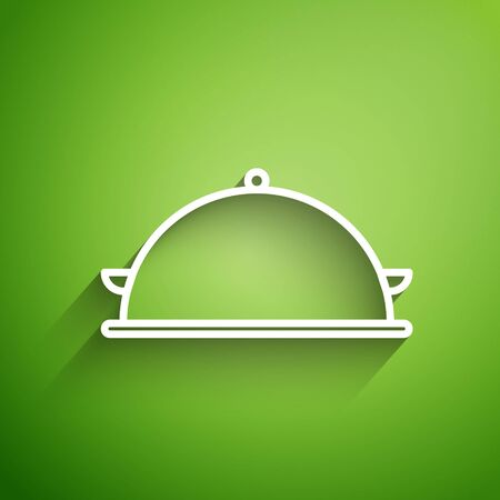 White line Covered with a tray of food icon isolated on green background. Tray and lid sign. Restaurant cloche with lid. Kitchenware symbol. Vector Illustration