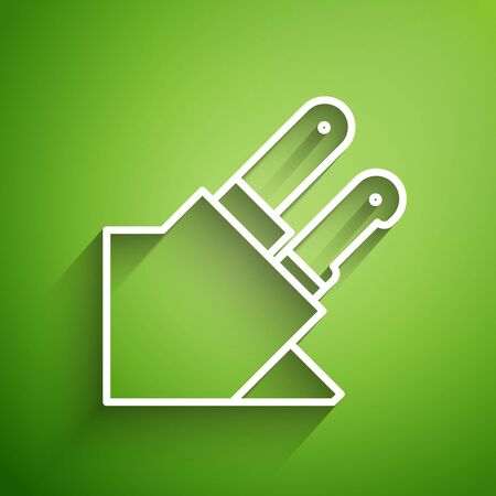 White line Knife icon isolated on green background. Cutlery symbol. Vector Illustration