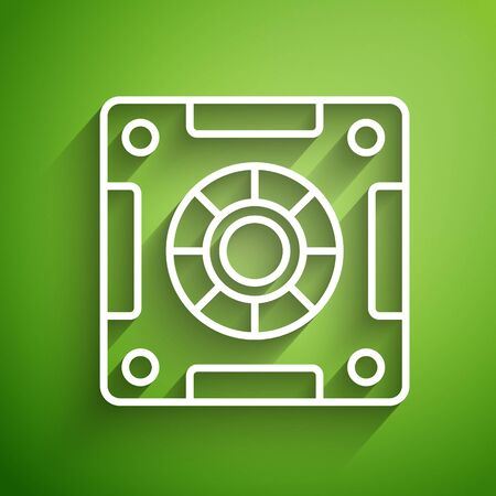 White line Safe icon isolated on green background. The door safe a bank vault with a combination lock. Reliable Data Protection. Vector Illustration