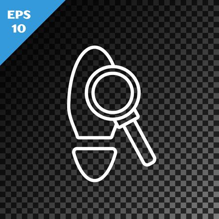 White line Magnifying glass with footsteps icon isolated on transparent dark background. Detective is investigating. To follow in the footsteps. Vector Illustration Illustration