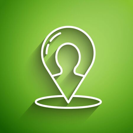 White line Map marker with a silhouette of a person icon isolated on green background. GPS location symbol. Vector Illustration Stock Illustratie