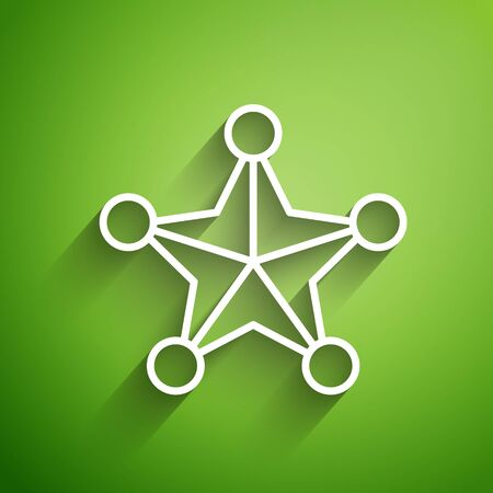 White line Hexagram sheriff icon isolated on green background. Police badge icon. Vector Illustration