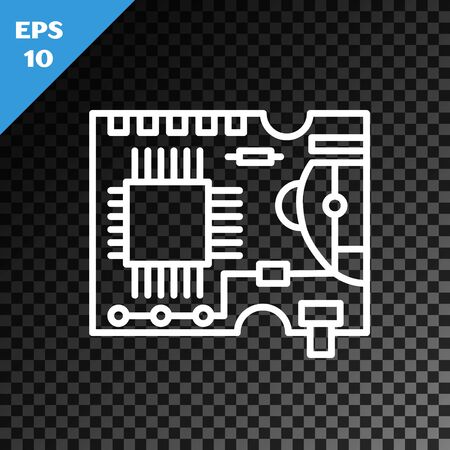 White line Printed circuit board PCB icon isolated on transparent dark background. Vector Illustration