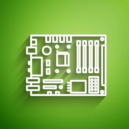 White line Electronic computer components motherboard digital chip integrated science icon isolated on green background. Circuit board. Vector Illustration