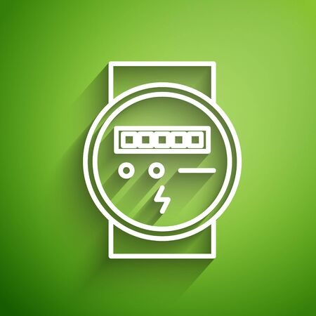 White line Electric meter icon isolated on green background. Vector Illustration