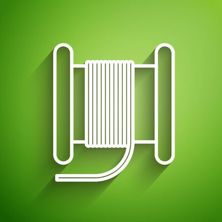 White line Wire electric cable on a reel or drum icon isolated on green background. Vector Illustration