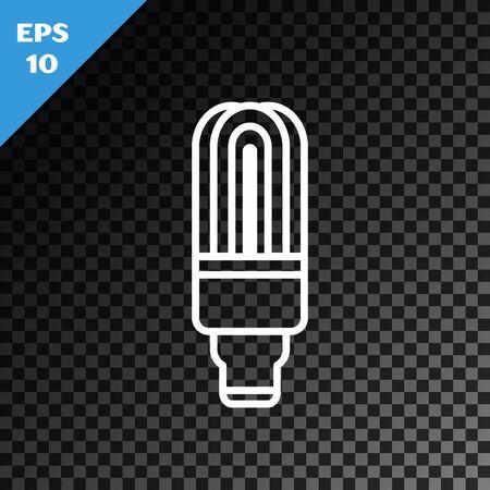 White line LED light bulb icon isolated on transparent dark background. Economical LED illuminated lightbulb. Save energy lamp. Vector Illustration