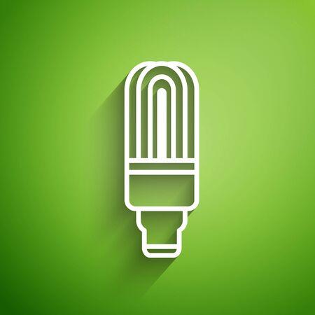 White line LED light bulb icon isolated on green background. Economical LED illuminated lightbulb. Save energy lamp. Vector Illustration