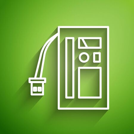 White line Battery icon isolated on green background. Accumulator battery energy power and electricity accumulator battery. Vector Illustration