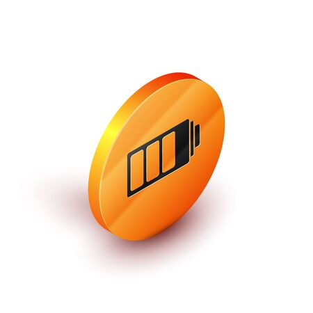 Isometric Battery charge level indicator icon isolated on white background. Orange circle button. Vector Illustration