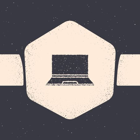 Grunge Laptop icon isolated on grey background. Computer notebook with empty screen sign. Monochrome vintage drawing. Vector Illustration