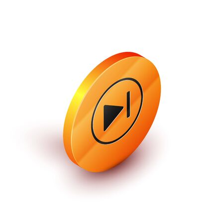 Isometric Fast forward icon isolated on white background. Orange circle button. Vector Illustration