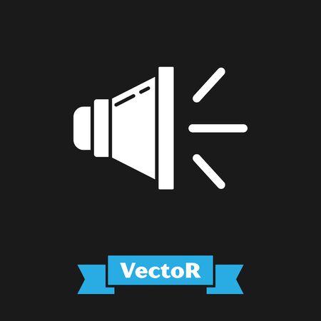 White Speaker volume, audio voice sound symbol, media music icon isolated on black background. Vector Illustration