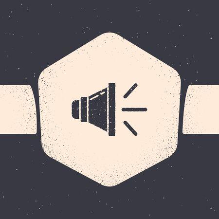 Grunge Speaker volume, audio voice sound symbol, media music icon isolated on grey background. Monochrome vintage drawing. Vector Illustration
