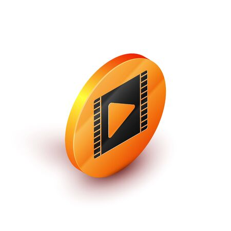 Isometric Play Video icon isolated on white background. Film strip with play sign. Orange circle button. Vector Illustration