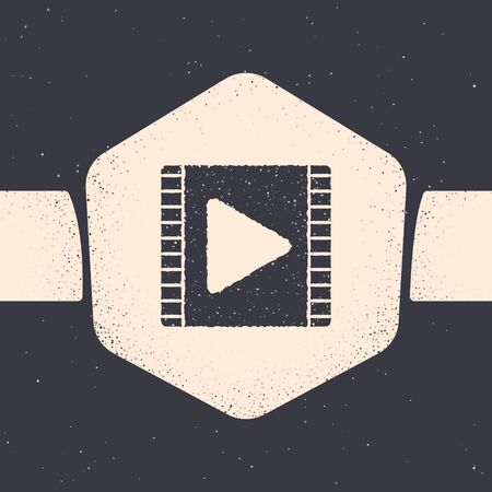 Grunge Play Video icon isolated on grey background. Film strip with play sign. Monochrome vintage drawing. Vector Illustration