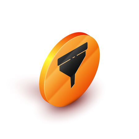 Isometric Funnel or filter icon isolated on white background. Orange circle button. Vector Illustration  イラスト・ベクター素材