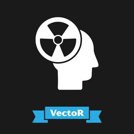 White Silhouette of a human head and a radiation symbol icon isolated on black background. Vector Illustration