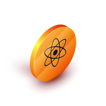 Isometric Atom icon isolated on white background. Symbol of science, education, nuclear physics, scientific research. Orange circle button. Vector Illustration