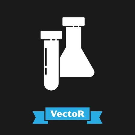 White Test tube and flask chemical laboratory test icon isolated on black background. Laboratory glassware sign. Vector Illustration