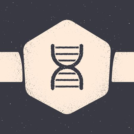 Grunge DNA symbol icon isolated on grey background. Monochrome vintage drawing. Vector Illustration
