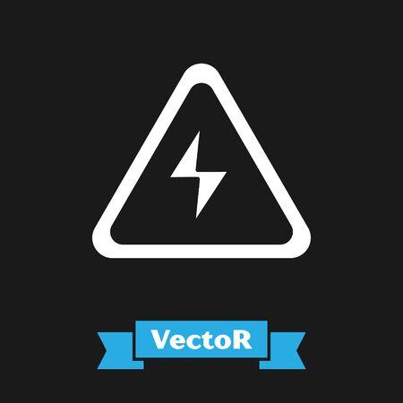 Icono de signo de alto voltaje blanco aislado sobre fondo negro. Símbolo de peligro. Flecha en triángulo. Icono de advertencia. Ilustración vectorial Ilustración de vector