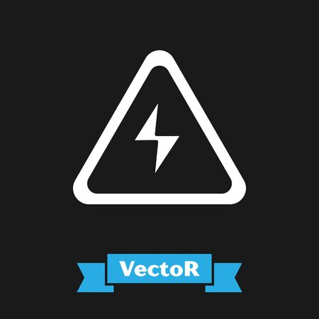 White High voltage sign icon isolated on black background. Danger symbol. Arrow in triangle. Warning icon. Vector Illustration Vector Illustratie