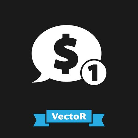 White Speech bubble with dollar icon isolated on black background. Badge for price. Sale with dollar symbol. Promo tag discount. Vector Illustration