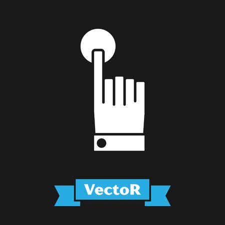 White Hand touch and tap gesture icon isolated on black background. Click here, finger, touch, pointer, cursor, mouse symbol. Vector Illustration Иллюстрация