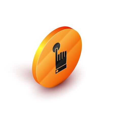 Isometric Hand touch and tap gesture icon isolated on white background. Click here, finger, touch, pointer, cursor, mouse symbol. Orange circle button. Vector Illustration
