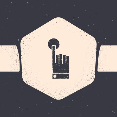 Grunge Hand touch and tap gesture icon isolated on grey background. Click here, finger, touch, pointer, cursor, mouse symbol. Monochrome vintage drawing. Vector Illustration Иллюстрация