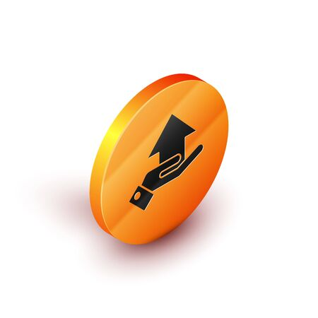 Isometric Money on hand icon isolated on white background. Palm holds cash with arrow up. Cash salary increase. Rising prices. Orange circle button. Vector Illustration