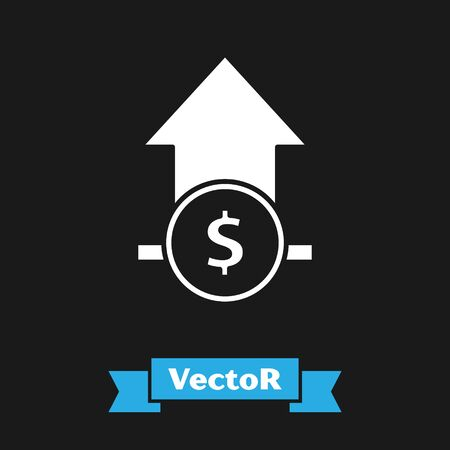 White Financial growth and coin icon isolated on black background. Increasing revenue. Vector Illustration