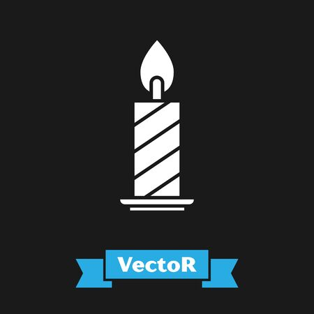 White Burning candle in candlestick icon isolated on black background. Cylindrical candle stick with burning flame. Vector Illustration