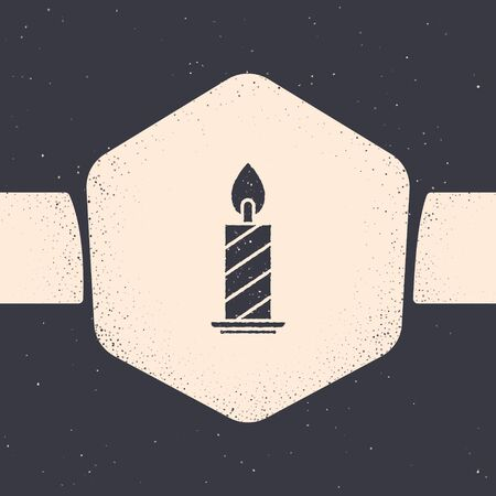 Grunge Burning candle in candlestick icon isolated on grey background. Cylindrical candle stick with burning flame. Monochrome vintage drawing. Vector Illustration