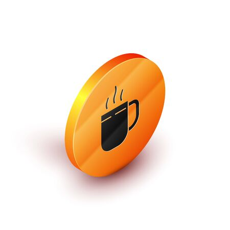 Isometric Coffee cup icon isolated on white background. Tea cup. Hot drink coffee. Orange circle button. Vector Illustration