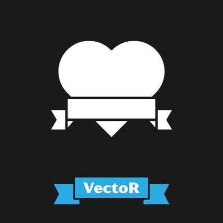 White Heart and ribbon icon isolated on black background. Romantic symbol linked, join, passion and wedding. Valentine day symbol. Vector Illustration