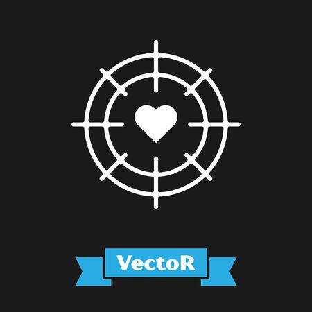 White Heart in the center of darts target aim icon isolated on black background. Valentines day. Vector Illustration