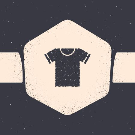 Grunge T-shirt icon isolated on grey background. Monochrome vintage drawing. Vector Illustration