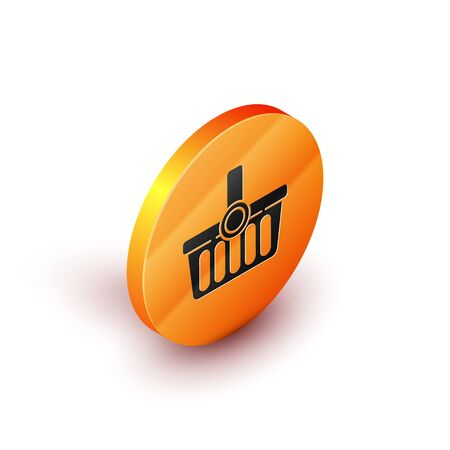 Isometric Shopping basket icon isolated on white background. Online buying concept. Delivery service sign. Shopping cart symbol. Orange circle button. Vector Illustration