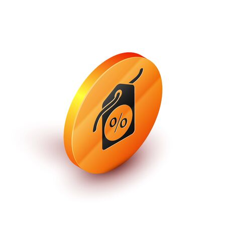 Isometric Discount percent tag icon isolated on white background. Shopping tag sign. Special offer sign. Discount coupons symbol. Orange circle button. Vector Illustration 向量圖像