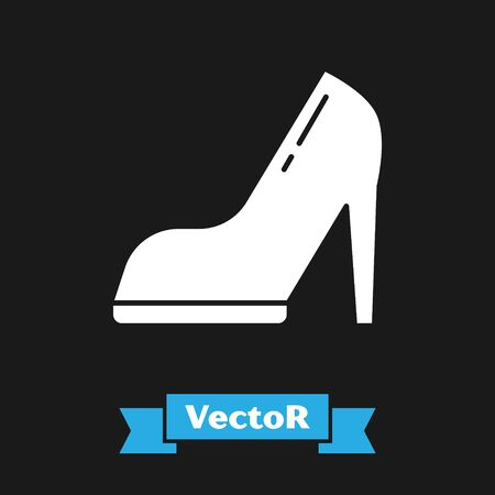White Woman shoe with high heel icon isolated on black background. Vector Illustration