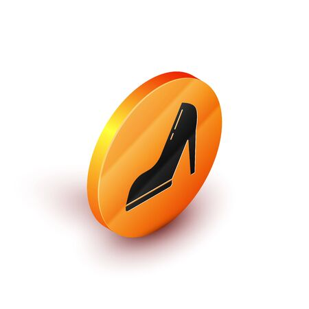 Isometric Woman shoe with high heel icon isolated on white background. Orange circle button. Vector Illustration Stock Illustratie